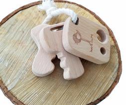 best DEVELOPMENTAL Natural Wooden Teether KeyChain Toy Rattl