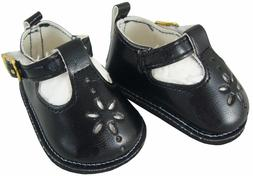 For Bitty Baby + Twins Doll Clothes Black T-Strap Shoes Sand