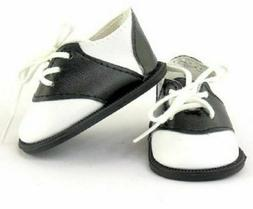 "Black & White Saddle Oxford Doll Shoes Fits 18"" American Gir"
