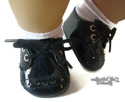 Black Patent Dress Shoes for Bitty Baby Boy by Doll Clothes