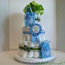 Blue Diaper Cake For  A Baby Boy, Great Table Top Center Pie