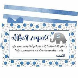 Blue Elephant Diaper Raffle Tickets - 50 Cards for Fun Boy B