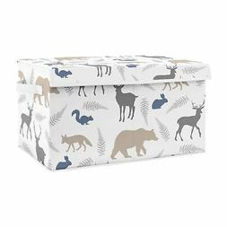 Blue Grey Woodland Animal Bear Deer Fox Nursery Fabric Toy B