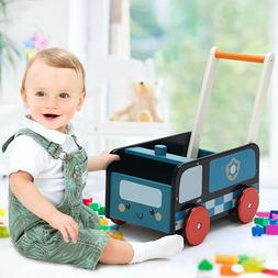 Blue Wood Infant Learning Walker Stand Toy Baby Roll Cart Pu