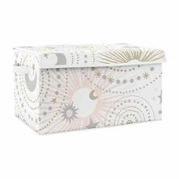 Blush Pink Gold Grey Star Moon Celestial Baby Fabric Toy Bin