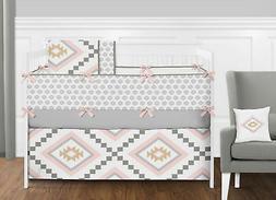 Sweet Jojo Designs Boho Aztec Blush Pink Gold & Grey Baby Gi