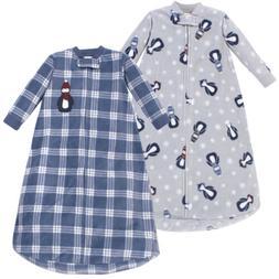 Hudson Baby Boy Fleece Long Sleeve Sleeping Bag 2-Pack, Blue
