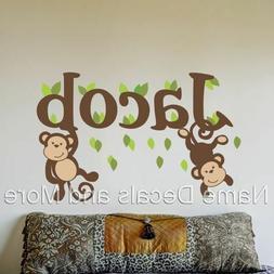 Boys Name Monogram Nursery Wall Decals Baby Monkey Monkeys B