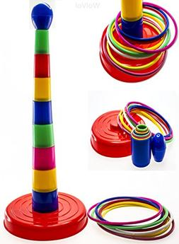 WolVol 18 inch Brightly Colorful Quoits Ring Toss Game Set f