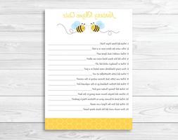 Bumble Bee Baby Shower Nursery Rhyme Quiz Game Printable