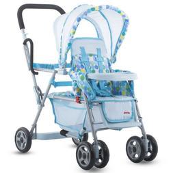Joovy Caboose Dolls Stroller Toy Baby Blue Tandem For Girls