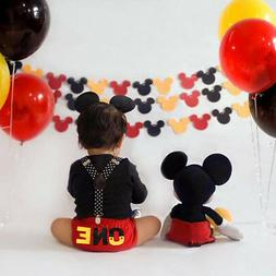 Cake Smash Outfit Baby Boys Mickey Mouse 1st Birthday Suspen