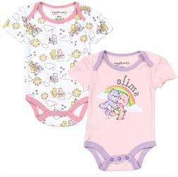 Care Bear Girls Newborn 2PC Bodysuit Set. 2 Adorable Pink Ca