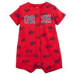 Carter's Baby Boys Fire Truck Hero Snap Up Romper 3M 3 Mo Re