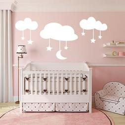 Cartoon Moon Stars Clouds Large Size Wall Sticker Baby Nurse
