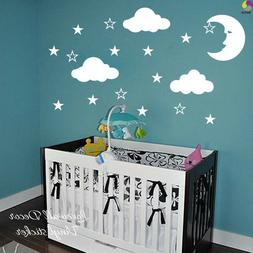 Cartoon Moon Stars Clouds White Wall Sticker Baby Nursery Ki