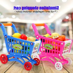 Child Plaything Shopping Cart Fruit Vegetable Pretend Play T