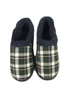 """CHILDRENS BOYS """"EX M&S CHECK PRINT CLASSIC PULL ON SLIPPERS"""