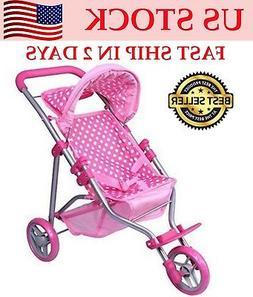 """Christmas Gift for Kid 18"""" Baby Dolls Stroller Foldable Pack"""