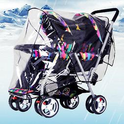 Clear Stroller Rain Cover Weather Pram Baby Infant Double Pu