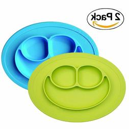 CLEARANCE Baby Silicone Suction Placemat + Plates, 2 Packs,