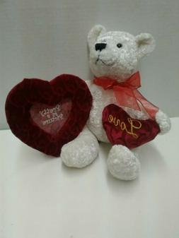 Dan Dee Collectors Choice White Teddy Bear Red Bow & Pretty