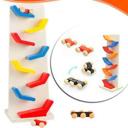 Colorful Wooden Toys Baby Mini Track Car Glider Kids Educati