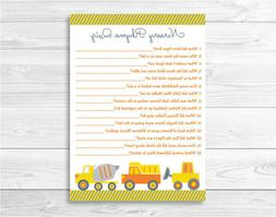 Construction Trucks Baby Shower Nursery Rhyme Quiz Game Prin