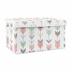 Coral Mint Grey Woodland Arrow Woodsy Nursery Fabric Toy Bin