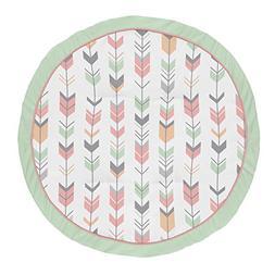 Sweet Jojo Designs Coral, Mint and Grey Woodland Arrow Playm