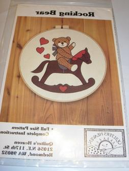 """CRAFTS ROCKING BEAR 18"""" HOOP COUNTRY APPLIQUE WALL ART SEWIN"""