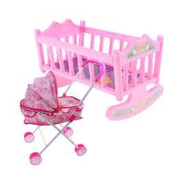 "Crib Baby Doll Bed & Stroller for 9""-11"" Reborn Girl Doll Ki"