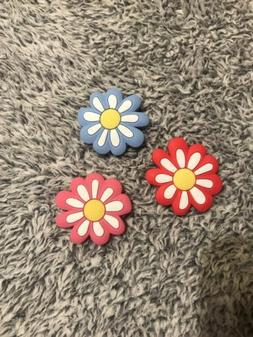 croc charms 3piece set flowers pink red