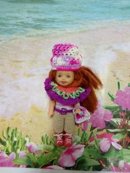 "crochet clothes Kelly outfit Dress Hat Shoe  4.5"" Baby Barbi"
