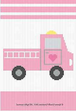 Crochet Patterns - FIRE ENGINE Baby Girl Graph/Chart Afghan
