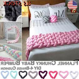 Cushion Baby Crib Bumper Knot Pillow Knitted Thick Plush Nur