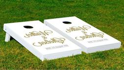 Customizable Happliy Ever After Cornhole Game With Bags Back