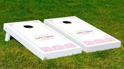 Customizable Just Married's Cornhole Game With Bags Backyard