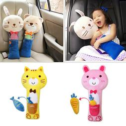 Cute Animal Kids Car Seat Strap Belt Cover Doll Pillow Safet
