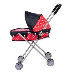 Lovely Dotted Baby Doll Stroller Trolley,Soft Plastic Handle