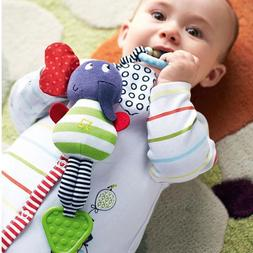 Cute Music Elephant Bell Rattles Safety Seat Baby Soft Plush
