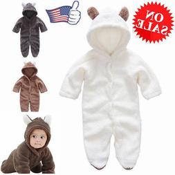 Cute Newborn Baby Boy Warm Hooded Romper Jumpsuit Suits Fluf