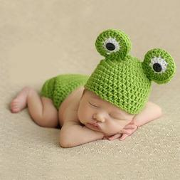 Cute Newborn Baby Girls Boys Frog Crochet Knit Costume Beani