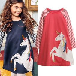 Cute Unicorn Toddler Kids Baby Girls Party Stripes Long Slee