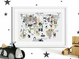 Cute World Map Nursery Print Picture, For Boys Girls Bedroom