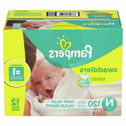 Diapers Newborn / Size 0 , 120 Count - Pampers Swaddlers Dis