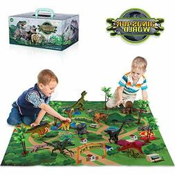 Dinosaur Action Figure Toy w/ Activity Play Mat Realistic Di