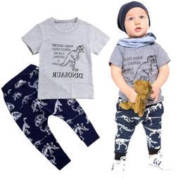 Dinosaur Kids Baby Boys Top T-shirt Pants Leggings Outfits S