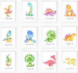 Dinosaur Nursery Prints Set, Baby Kids Room Dinosaurs Pictur