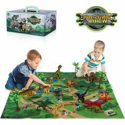 Dinosaur Toy Figure W/ Activity Play Mat Trees Educational P